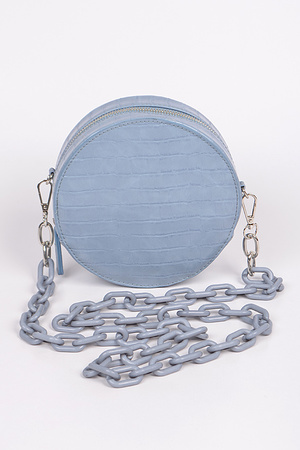Round Pouch With Colored Chain