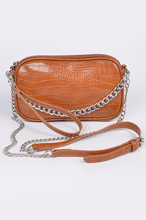Snakeskin Detail Clutch with Chain