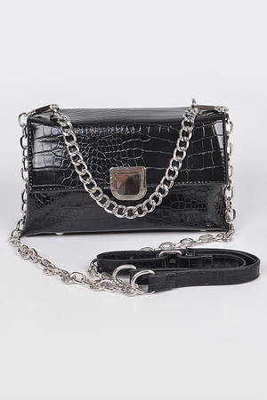 Snakeskin Crossbody Bag with Chain Strap