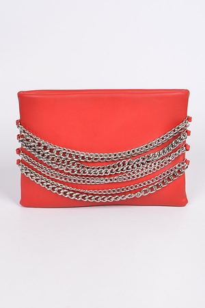 Pouch Clutch with Chain Details