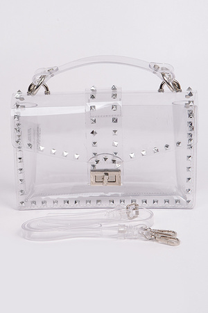 Clear PVC Studded Clutch.