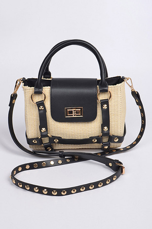 Straw With Leather Studded Strap Body Clutch.