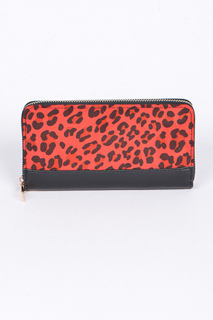 Animal Print Wallet With Zipper