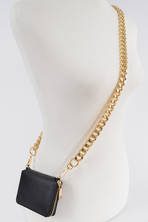 Faux Leather Wallet W/Oversized Chain.