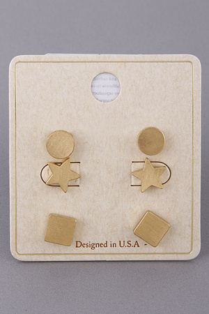 Geometric Stud Earrings Set 9JAC1