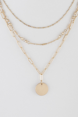 Multi Layered Chain Round Pendant Necklace