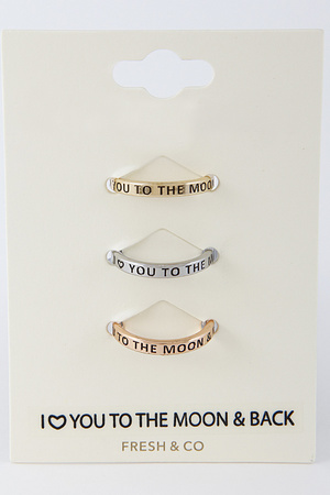 I Love You to The Moon and Back Ring Set 8DAB4