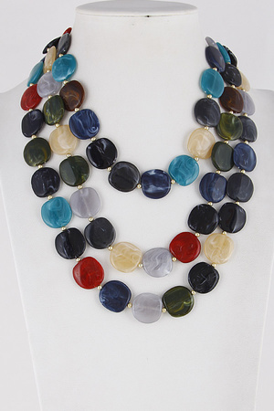 Stone Charm Beaded Necklace 8ICA8