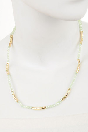 Faceted beads N hammered tubes necklace-dbg7