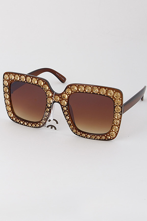 Fashionable Ladylike Sunglasses with Rhinestone Details