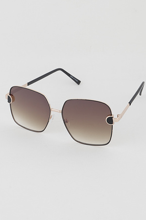 Gold Rim Tinted Rectangle Fashion Sunglasses