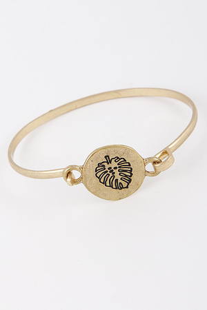 Metallic Cute Bracelet With Palm Drawing 8IBB8