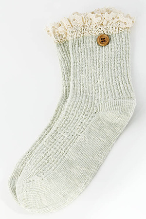 Wood Buttoned Lace Sewn Midway Socks 5BBJ