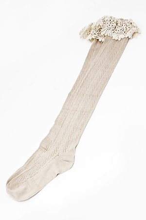 Stripe Detail Sewn Solid Lace Long Socks 5CAC