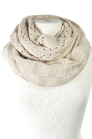 Two Textured Knitted Infinity Scarf 4jaj