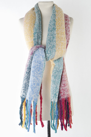 Soft Color Mixed Fringed Scarf 9JBB