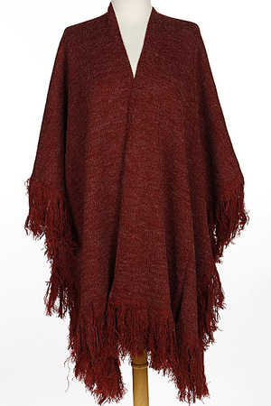 Light Simple Fringed Scarf Poncho 6JBE