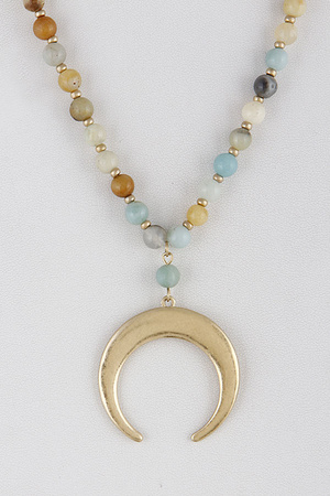 Beaded Moon Statement Necklace 9FBA2