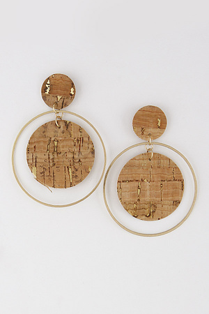 Gold Ring Double Circle Earring 9ECD10