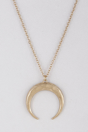 Crescent Pendant Layered Long Necklace 8LBB6