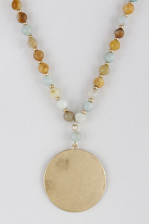 Beaded Long Gold Circle Necklace 9FBA2
