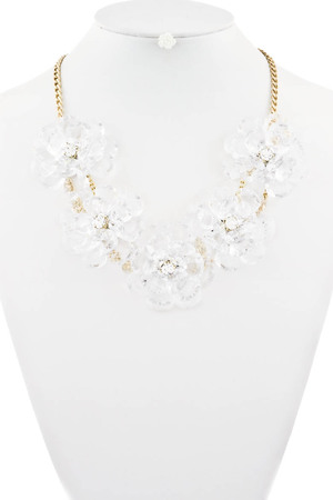 Clear roses statement necklace 3LBC10
