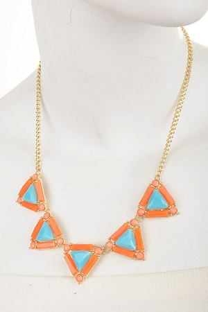 Faceted Geo Triangles necklace set-3fba4