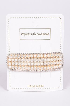Rhinestone and Pearl Combo Hairpin