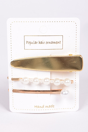 Pearl and Solid Metal Hairpin Set
