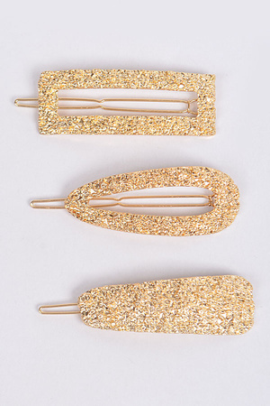Hammered three piece set hairpins