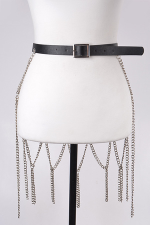 Leather Belt with Chain Skirt.