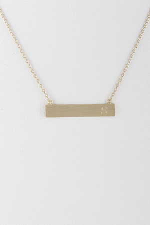 Plain Bar Line With Your Initial Letter Necklace 7KAE7