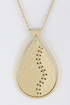 American Footbal Ball Inspired Teardrop Long Necklace 8BAB7