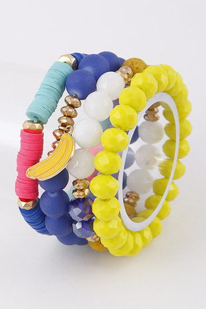 Colorful Bracelet Set With Banana Pendant 9ACE10