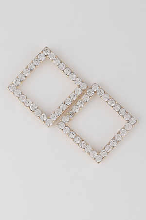 Rhinestone Cut Out Square Earrings
