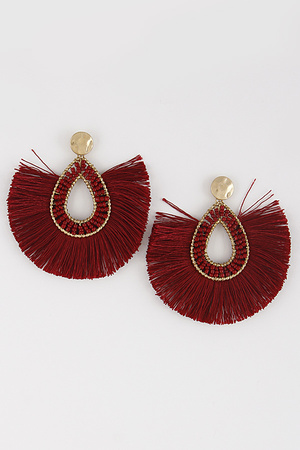 Oval Beaded Earrings With Tassel Detail 8ICA2