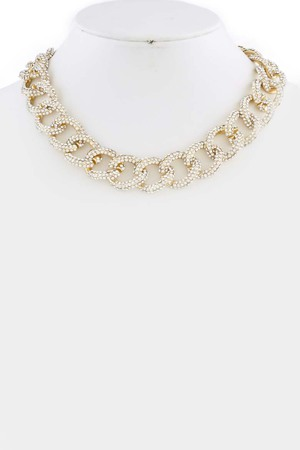 Simple rhinestone chain necklace 3LAF6