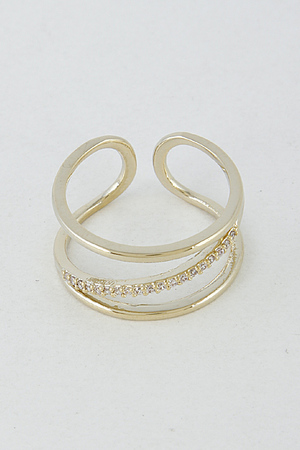 Open Ring With Slanted Rhinestones 6HAH10