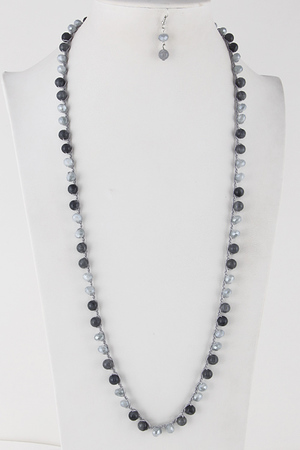 Long Beaded Daily Necklace Set 6JBB6