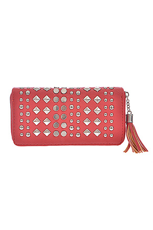 Stud Decorated Leather Wallet