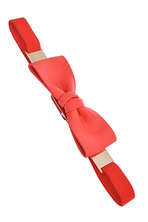 Big Faux Leather Ribbon Detail Elastic Belt