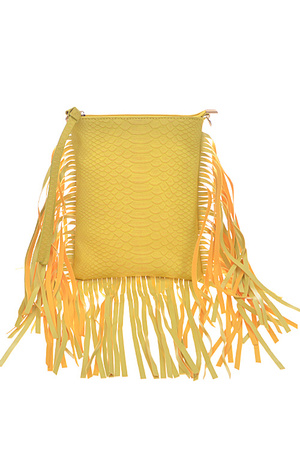 Faux Leather Fringed Handbag